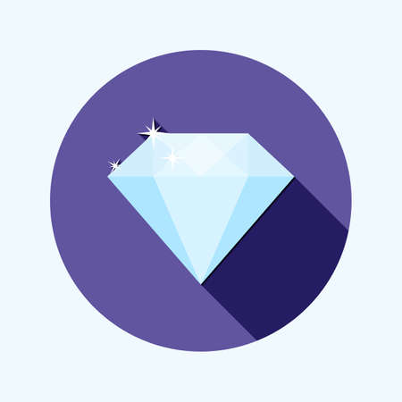 raw material: Flat design shiny diamond icon with long shadow