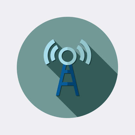 wireless lan: Flat design wireless LAN icon with long shadow