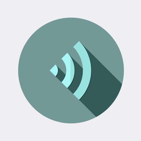 Flat Wireless symbol icon design with long shadow