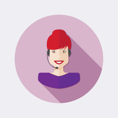 technical assistant: Flat character design icon woman with long shadow