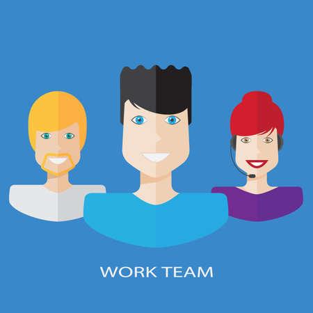 workteam: Flat workteam illustration Illustration