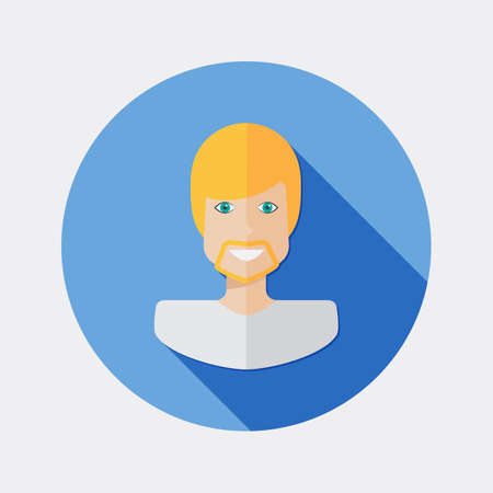 blond: Flat character design icon man blond hair with long shadow Illustration