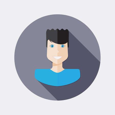 dark hair: Flat dark hair design man character icon with long shadow