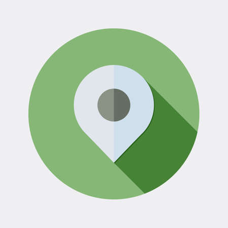employ: Flat map pointer icon design with long shadow