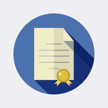 signing papers: Flat design office paper letter icon with long shadow