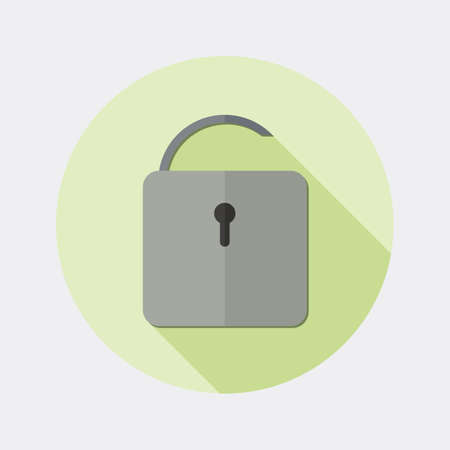 passwords: Flat open padlock icon design with long shadow