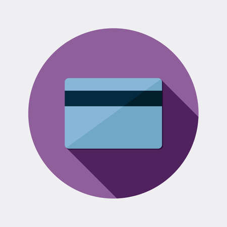 expense: Flat payment card design icon with long shadow Illustration