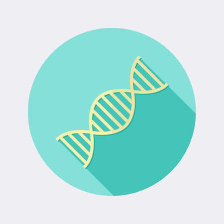 deoxyribonucleic: Flat design DNA science and medicine icon with long shadow