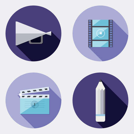 realization: Flat design creativity icons with long shadow