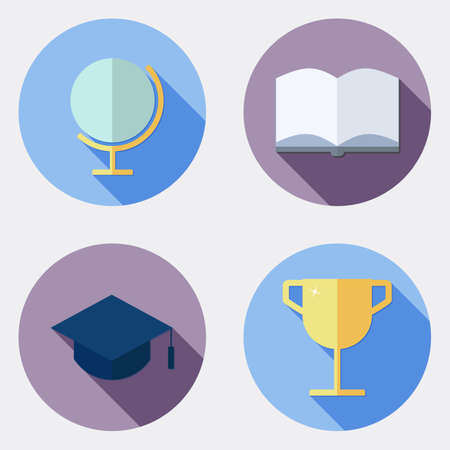 successes: Flat design education icons with long shadow  Illustration