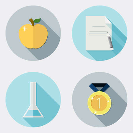 golden apple: Flat design education icons with long shadow  Illustration