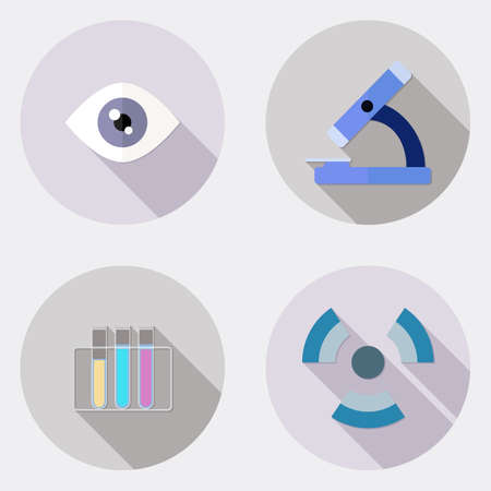 Flat scientific research design icons with long shadow