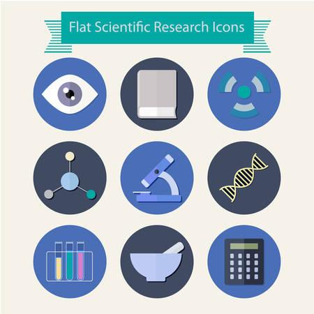 scientific research: Flat scientific research design icons