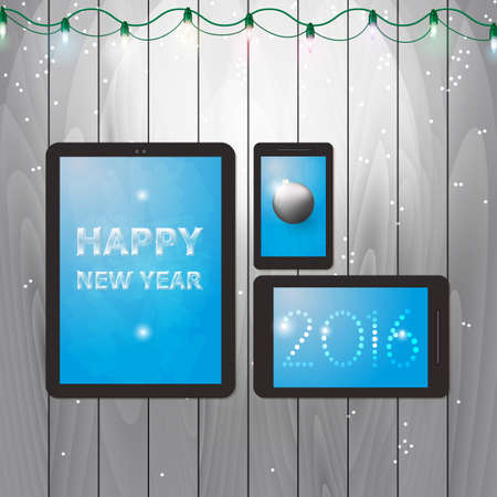 shelf ice: Design of greeting card with a message on tablets for happy new year