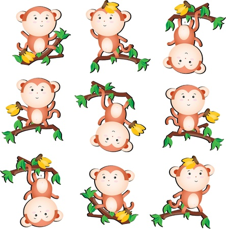 Funky monkey collection Vector