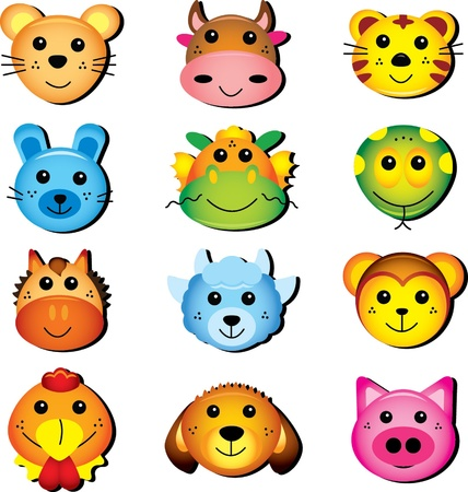 Animal head collection 免版税图像 - 12023540