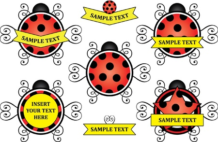 ladybug icon and frames collection Vector
