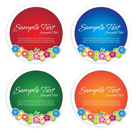 floral rounded frames Vector