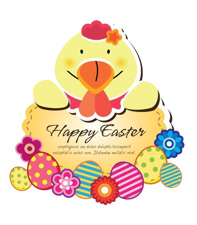 easter chicken and egg frame Stock Vector - 12847216