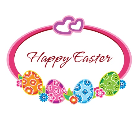 Easter frame with colorful eggs and flowers