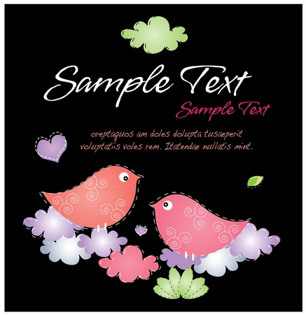 Romantic love birds in black Vector