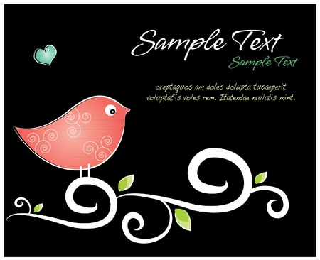 children s: Love bird on swirls  black background