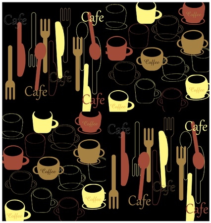 Cafe inspired utensils and cups Illustration