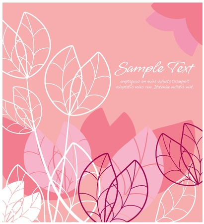 leave: Abstract floral  pink layout