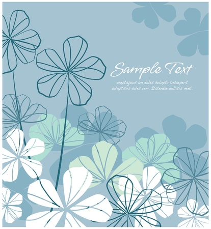 tittle: Abstract floral  blue layout