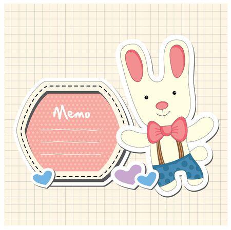 cute rabbit: conejo lindo con el marco Vectores