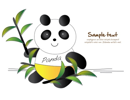 panda with bamboo leaves Vector