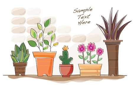 water coloured flower pots Illustration