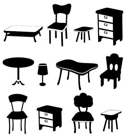 study table: black and white furnitures collection Illustration