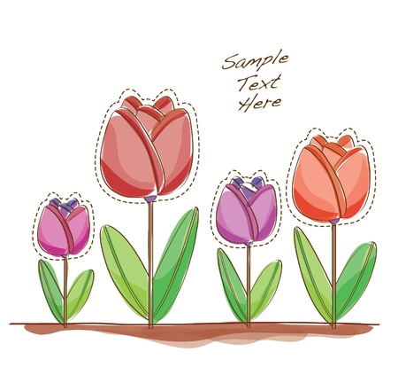 water colored tulip flowers Vector