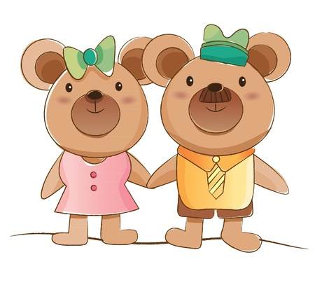 animals couple series  bears   Vector