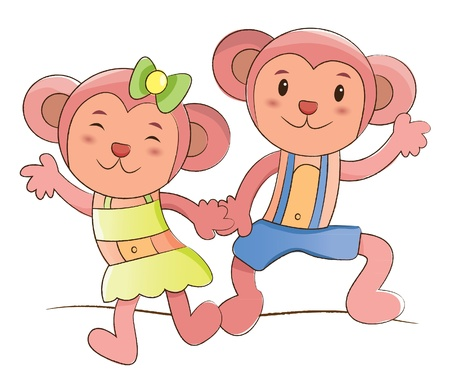 animals couple series  monkeys   Vector