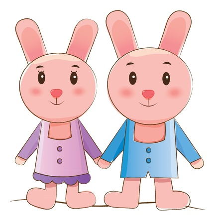 animals couple series  rabbits   Vector