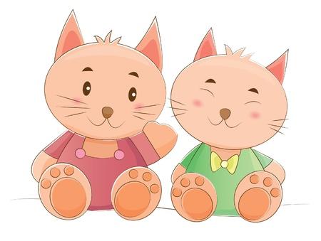 female animal: animals couple series  cat  Illustration