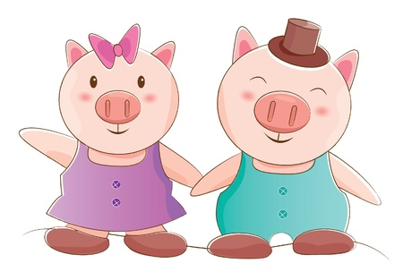 animals couple series  piggy   Vector