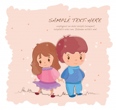hand drawn series-romantic cute couples Vector