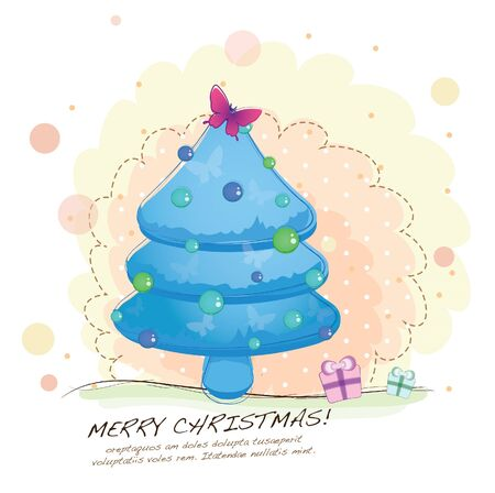 hand drawn series -young christmas tree Vector