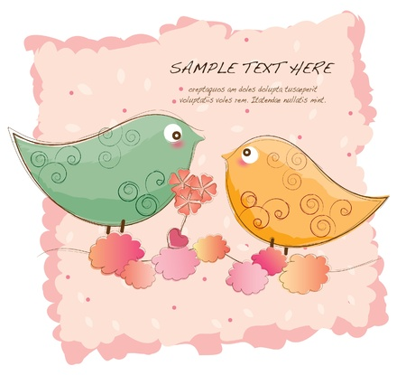 hand drawn series -lovebirds Vector