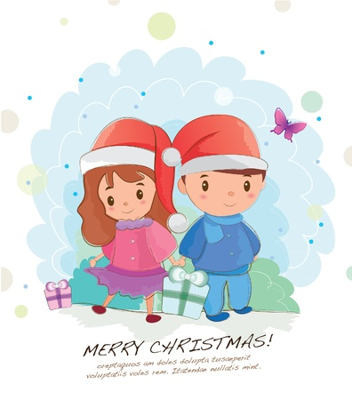 hand drawn series-christmas couple Stock Vector - 14993006