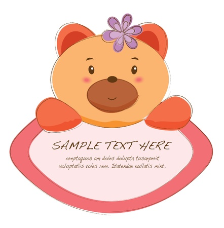 cute text box: hand drawn animal frames series-bear