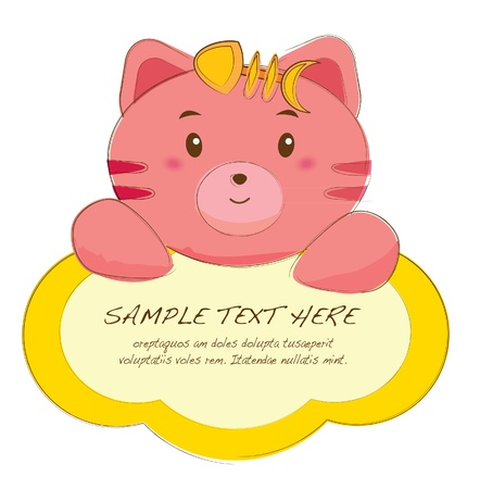 cute text box: hand drawn animal frames series-cat