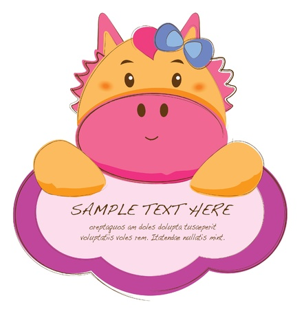cute text box: hand drawn animal frames series-donkey