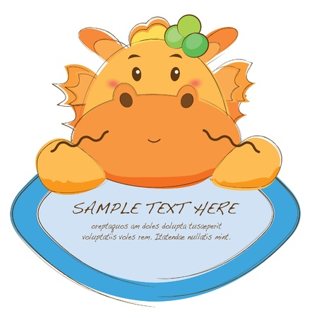 cute text box: hand drawn animal frames series-dragon Illustration