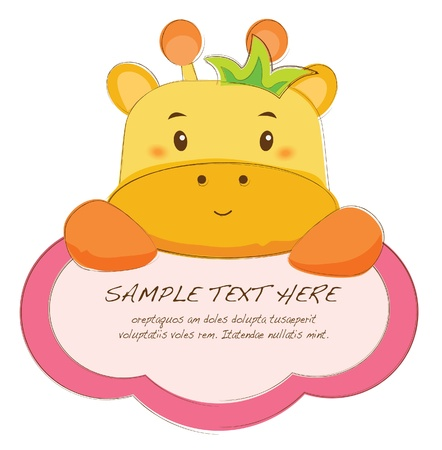 cute text box: hand drawn animal frames series-giraffe