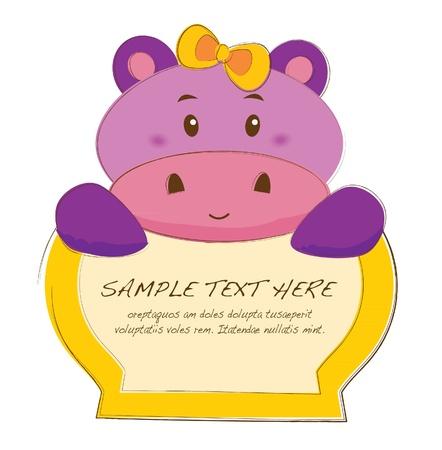 hipopotamo dibujos animados: dibujados a mano marcos de animales en serie hipopótamo