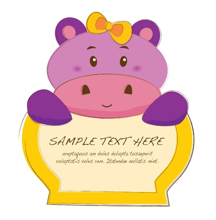 hand drawn animal frames series-hippo Vector